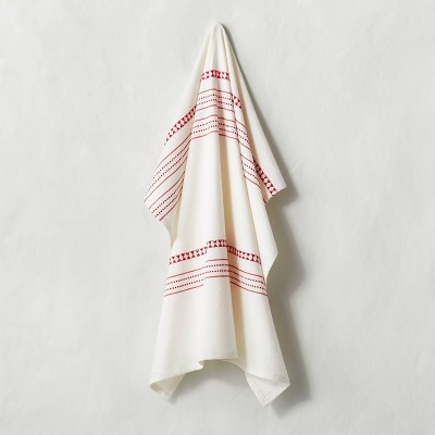 Woven Jacquard Stripes Flour Sack Kitchen Towel Red - Hearth & Hand™ with Magnolia