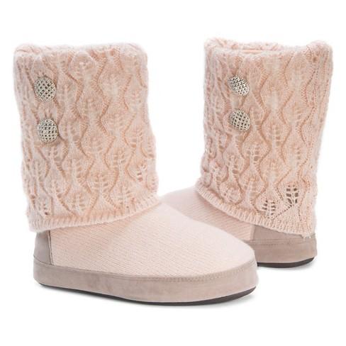 Womens Muk Luks Sofia Sliver Button Detail Sweater Knit Slipper