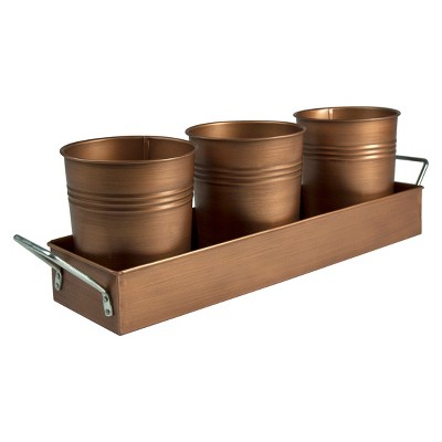 Artland Oasis Antique Copper Picnic Caddy and Planter - Gold