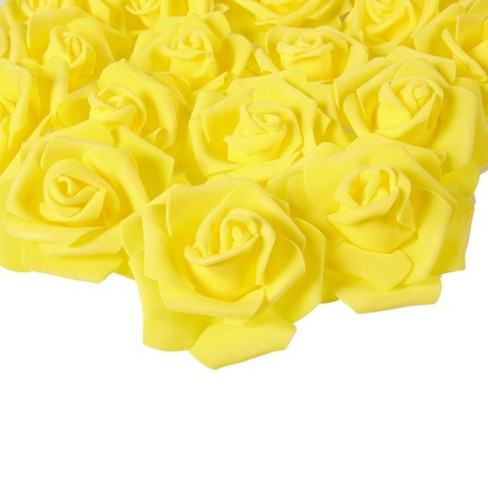 Juvale Rose Flower Heads - 100-Pack Artificial Roses, Perfect Wedding Decorations, Baby Showers, Crafts - Yellow, 3 x 1.25 x 3 inches - image 1 of 3