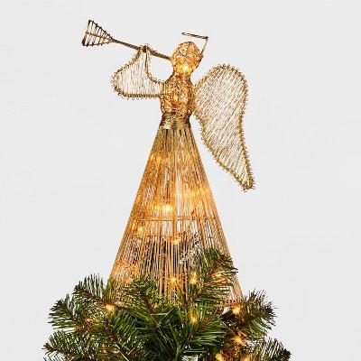 12.5in 10 Light Instrument Playing Angel Tree Topper Gold - Wondershop™