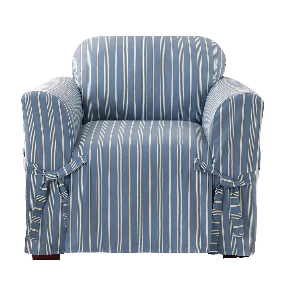 Blue Grainsack Stripe Chair Slipcover - Sure Fit