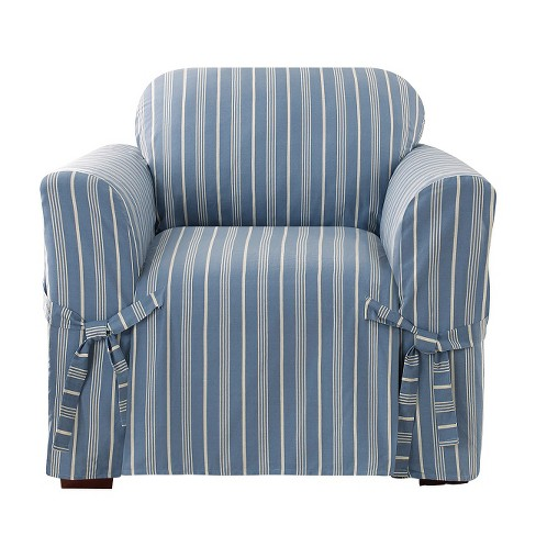 Blue Grainsack Stripe Chair Slipcover - Sure Fit® - image 1 of 2