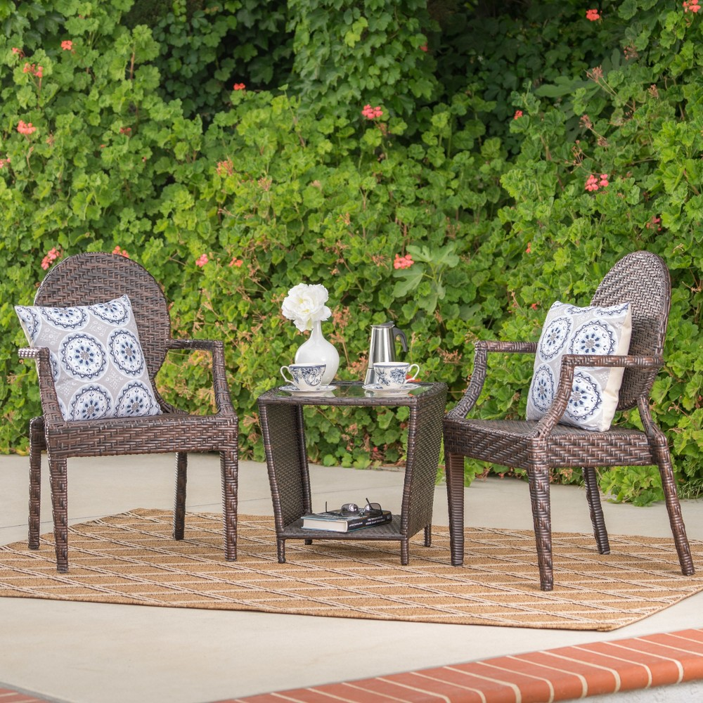 Pasadena 3pc Wicker Chat Set - Multibrown - Christopher Knight Home, Brown