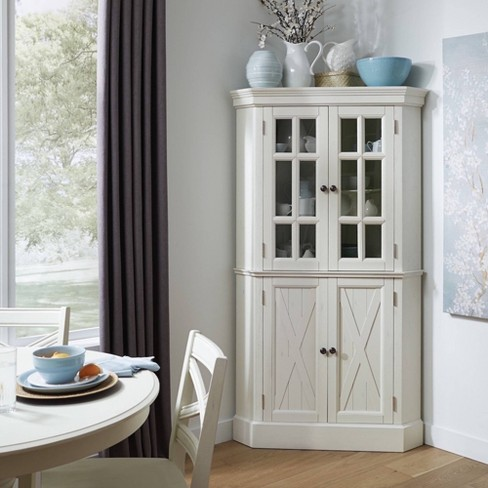 Seaside Lodge Corner Cabinet White, White Corner Hutch For Dining Room