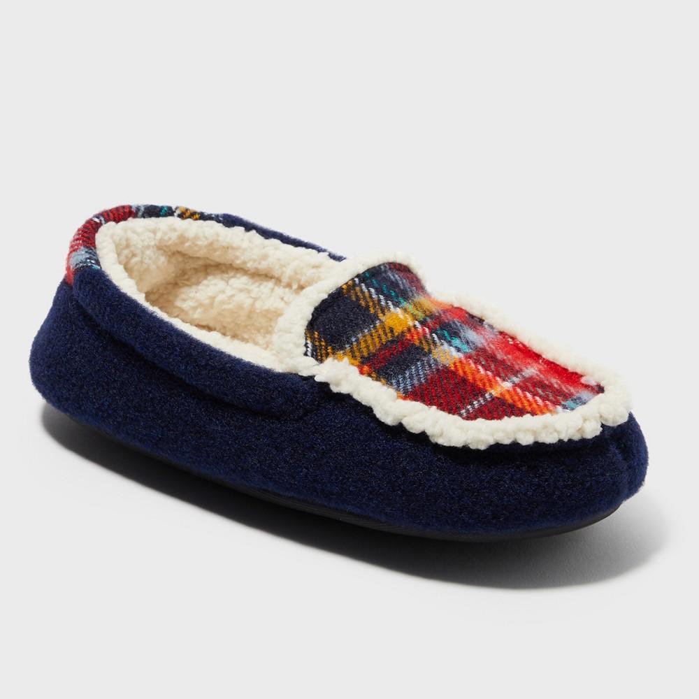 Boys' Dearfoams Moccasin Slippers - Blue 13-1