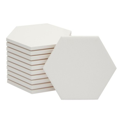 Bright Creations 12 Pack Blank White Ceramic Hexagon Coasters. Tiles for Crafts (3.7 in)