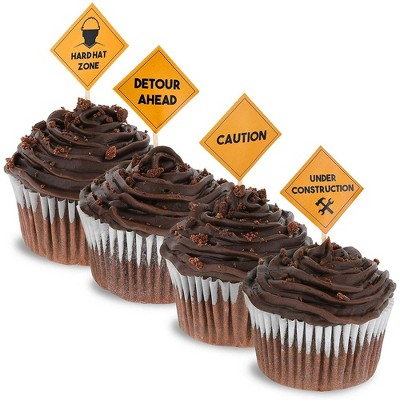 Juvale 200-Pack Construction Road Sign Cupcake Decoration Cake Toppers Food Picks 1 x 1.3 in