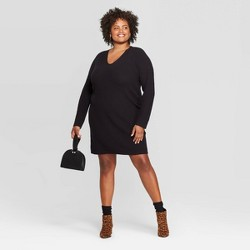 Women's Plus Size Long Sleeve V-Neck Sweater Dress - A New Day™