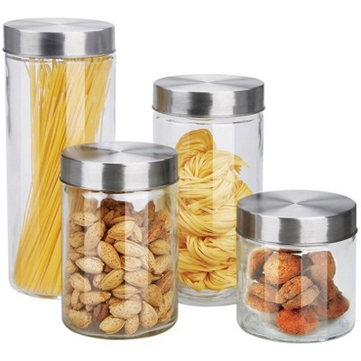 Home Basics 4 Piece Glass Canister Set with Stainless Steel Lids