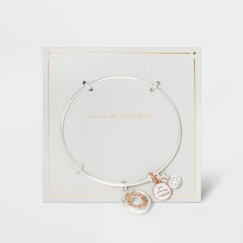 Silver Plated Adjustable Bangle with Flash Rose Flower Shaker Charm Bracelet - Silver Gray - image 1 of 2