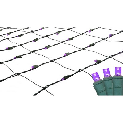 Northlight 4' x 6' LED Wide Angle Net Lights Purple - Green Wire
