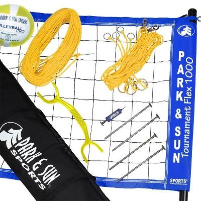 Park & Sun Sports Tournament Flex 1000 Portable Outdoor Volleyball Net Set, Blue