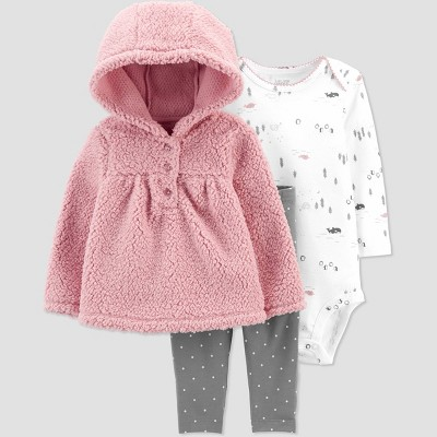 Baby Girls' 3pc Sherpa Top & Bottom Set - Just One You® made by carter's Pink Rose 6M