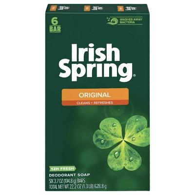 Irish Spring Original Mens Deodorant Bar Soap for Body and Hands - Washes Away Bacteria - 6pk - 3.7oz each