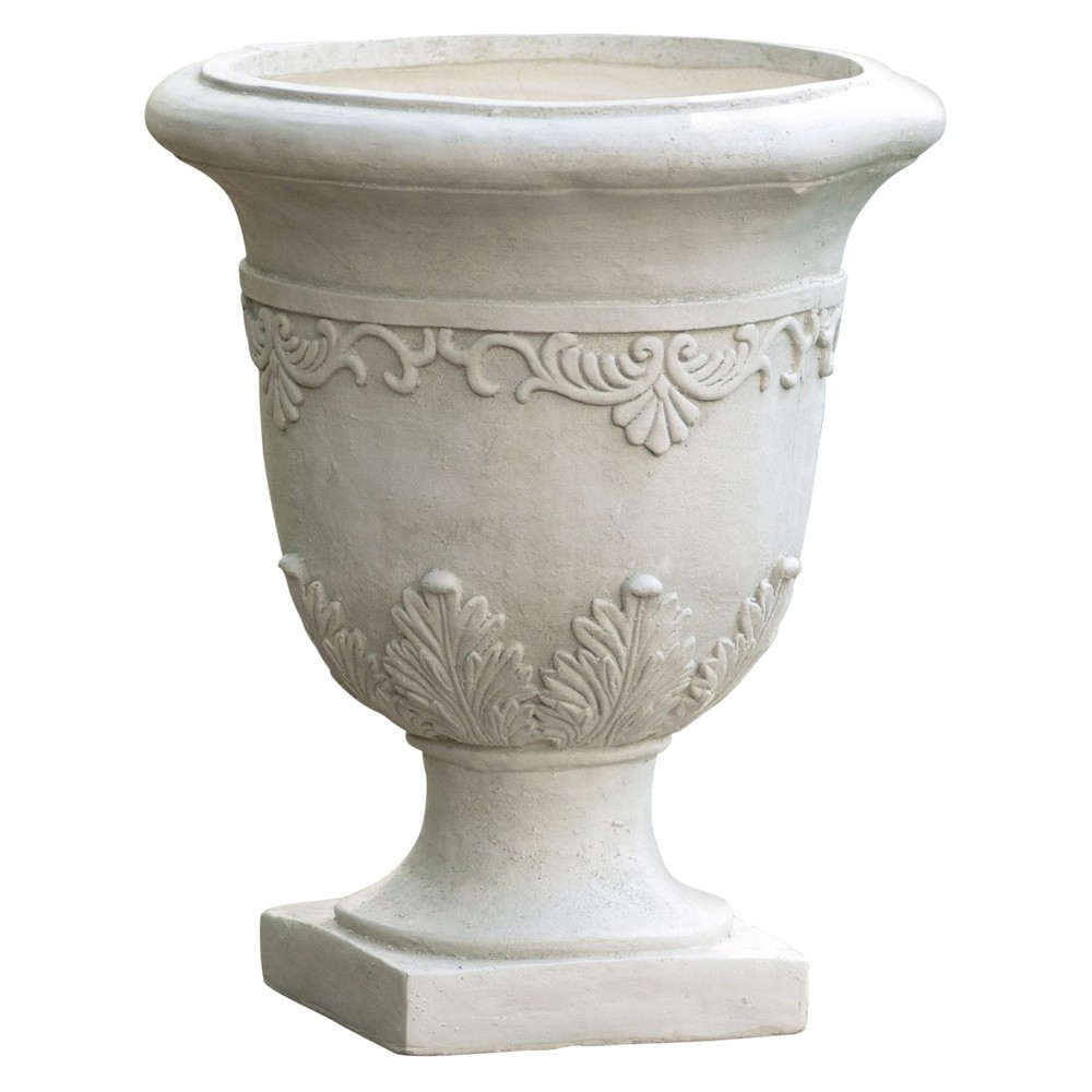 Image of 20 Urn Fiber Stone Patio Planter Moroccan - White - Christopher Knight Home