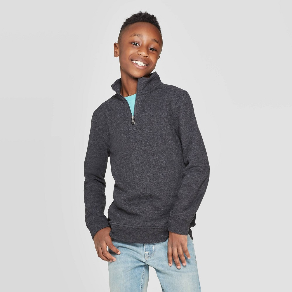 Image of Boys' Long Sleeve French Terry Sweater - Cat & Jack Black S, Boy's, Size: Small