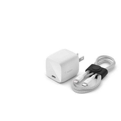 Belkin 2A/30W 1-port USB-C Wall Charger with 3.3ft Braided Lightning Cable to USB-C - White