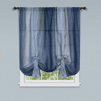 GoodGram Royal Ombre Crushed Semi Sheer Tie Up Curtain Window Shade