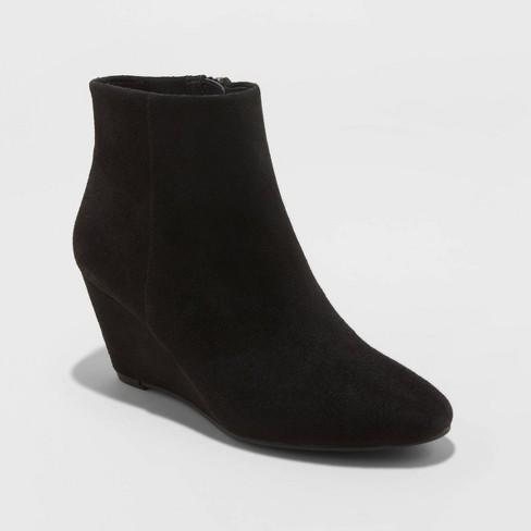 Women's Nara Microsuede Platform Bootie  - A New Day™ Black - image 1 of 3