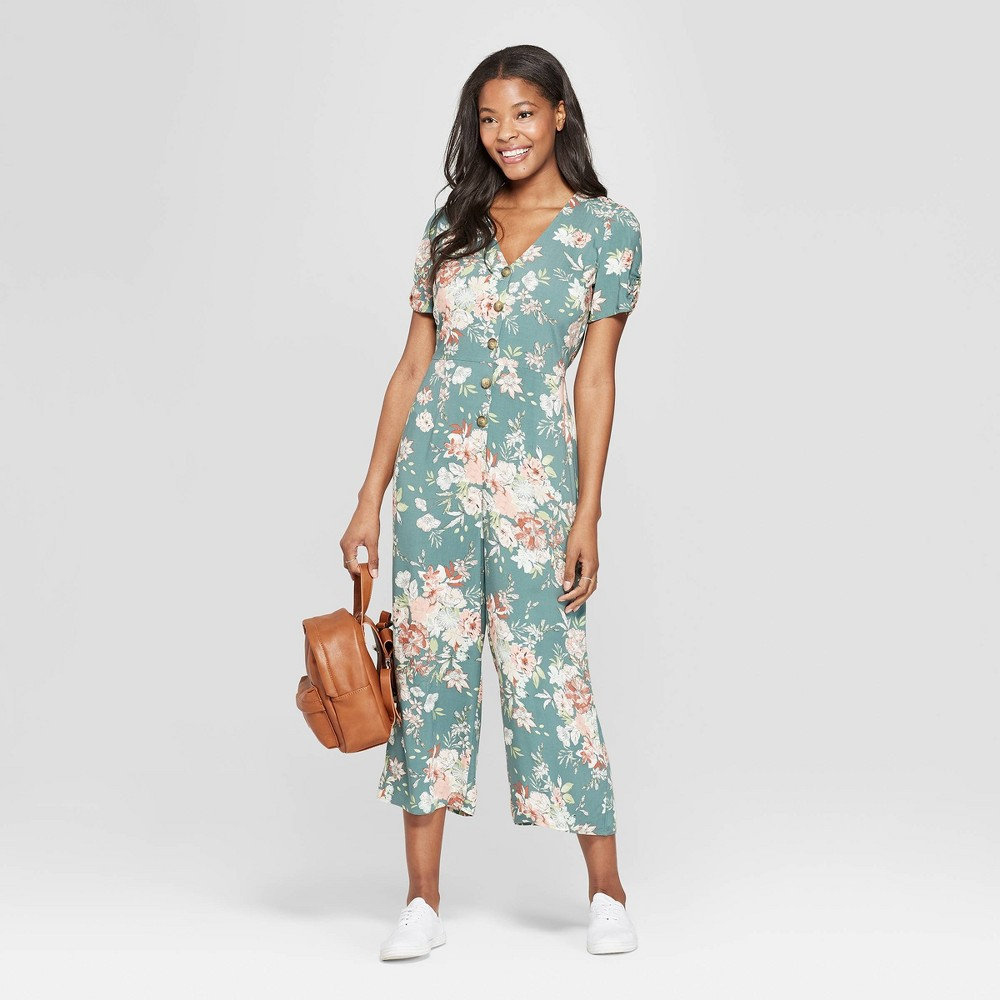 Women's Floral Print Short Sleeve Deep V-Neck Button Front Cropped Jumpsuit - Xhilaration Sage XS, Brown