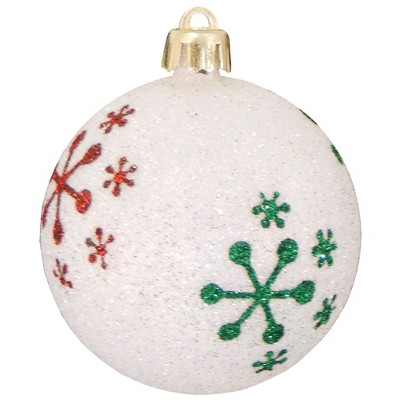 "Christmas by Krebs 4ct Snowball White and Red Snowflakes Shatterproof Glitter Christmas Ball Ornaments 3.25"" (80mm)"