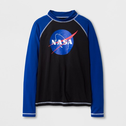 Boys' NASA Long Sleeve Raglan Rash Guard - Black - image 1 of 1