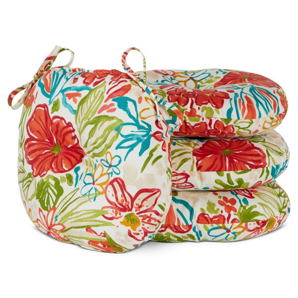 Image of 4pk Outdoor Bistro Seat Cushion Set Breeze Floral - Kensington Garden