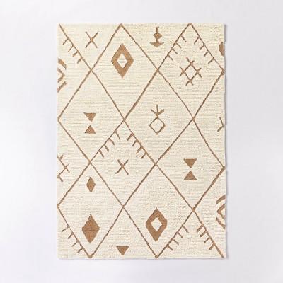 5'x7' Claybourne Hand Tufted Geometric Shag Two-Tone Diamond Wool/Jute Area Rug Ivory - Threshold™ designed with Studio McGee