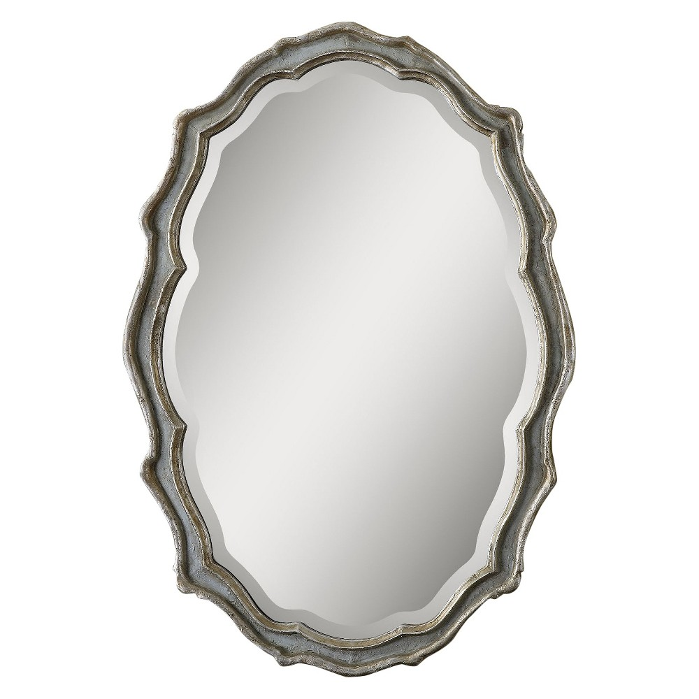 Image of Oval Dorgali Decorative Wall Mirror Slate Blue - Uttermost
