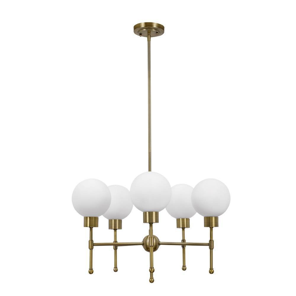 Image of Five Light Chandelier Antique Brass - Cresswell Lighting, Gold