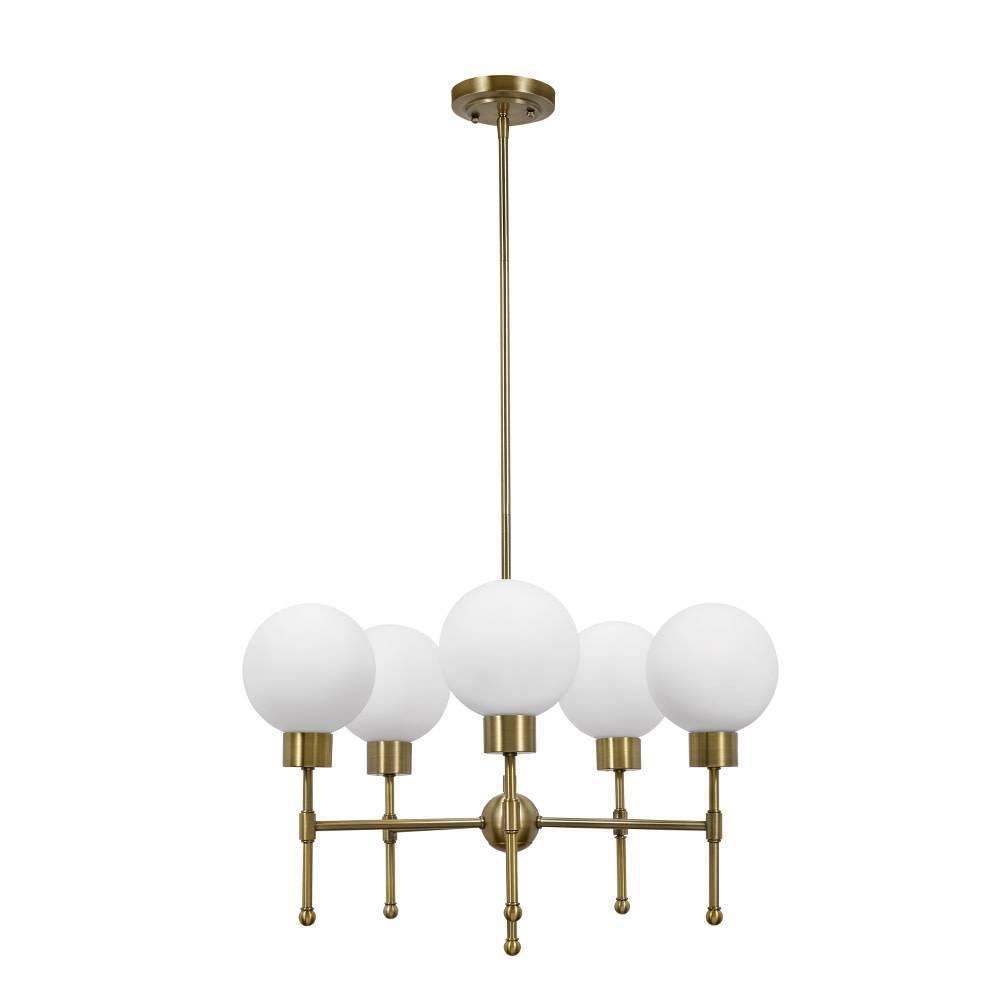 Image of Five Light Chandelier Antique Brass - Cresswell Lighting