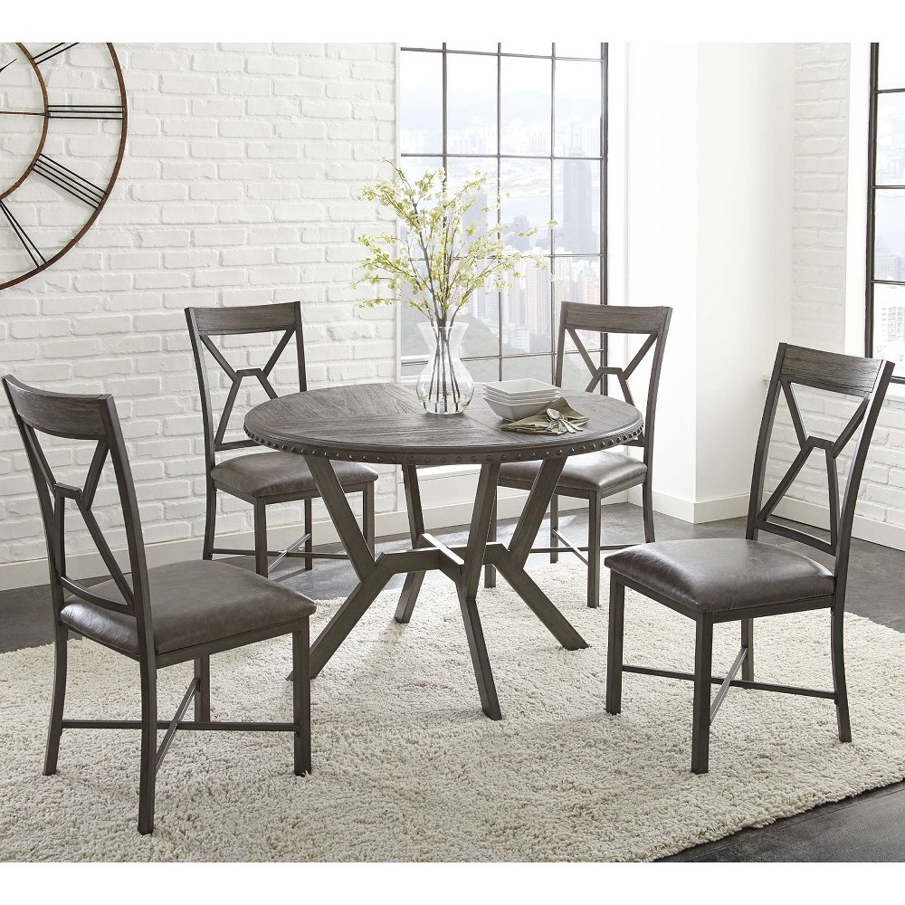 5pc Alamo Counter Height Dining Set Gray - Steve Silver