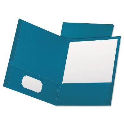 Oxford Linen Finish Twin Pocket Folders Letter Teal 25/Box 53442