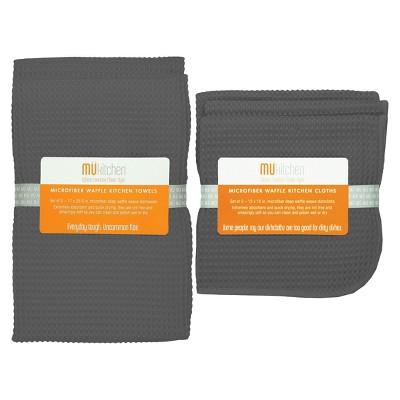Set of 5 Ultra Absorbent Microfiber Waffle Kitchen Towel And Dish Cloth Set Gray- Mu Kitchen