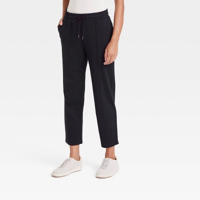 Women's High-Rise Knit Drawstring Ankle Pull-On Pants - A New Day™ Black