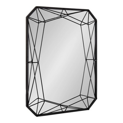 """22"""" x 28"""" Keyleigh Rectangle Metal Accent Wall Mirror Black - Kate and Laurel"""