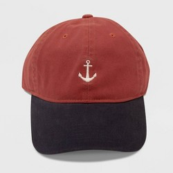 Men's Anchor Icon Dad Baseball Hat - Red One Size