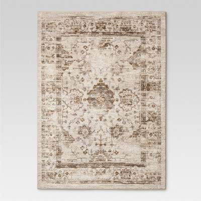 5'X7' Vintage Tufted Distressed Area Rug Tan - Threshold™