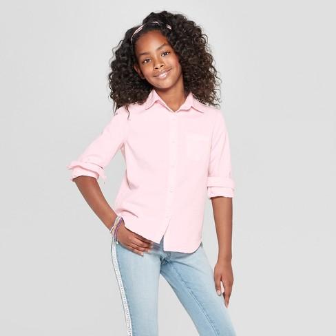 Girls' Long Sleeve Denim Button-Down Shirt - Cat & Jack™ Pink - image 1 of 3