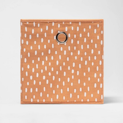 "11"" Fabric Cube Storage Bin Sun Orange Scatter Dot - Room Essentials™"