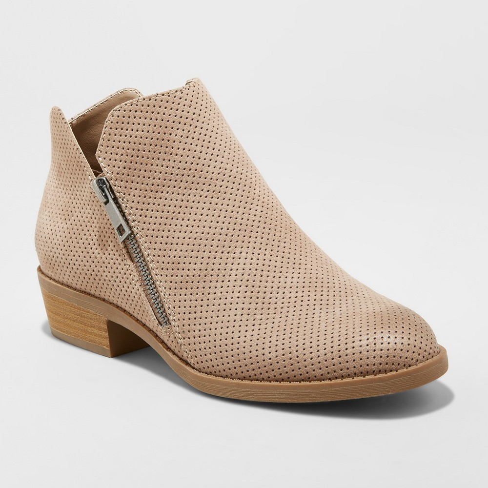 Women's Dylan Microsuede Laser Cut Zipper Wide Width Fashion Bootie - Universal Thread Taupe 5W, Brown was $34.99 now $20.99 (40.0% off)