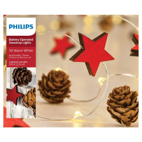 Philips 30ct Christmas Battery Operated LED Mini Pinecones and Red Wood Stars Dewdrop Fairy String Lights - Warm White - image 1 of 3