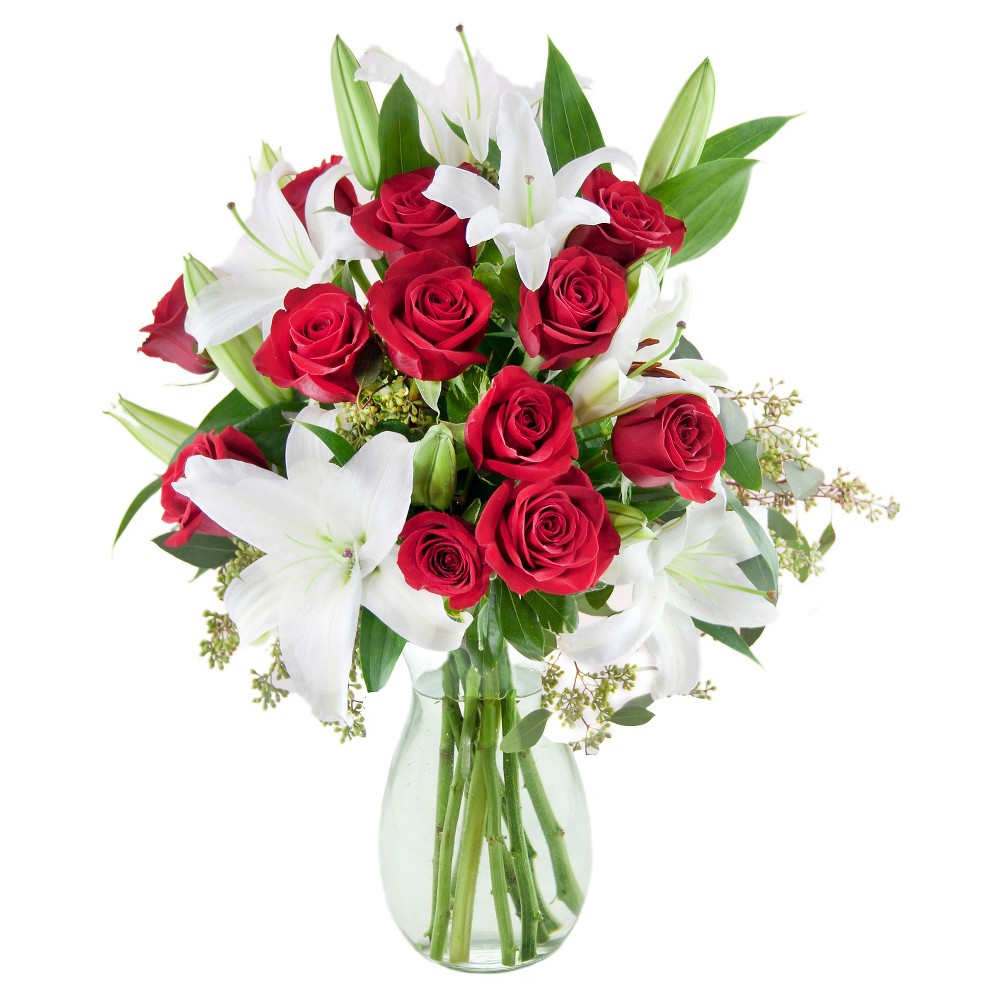 KaBloom Ciao Bella Lilies and Roses Fresh Flower Arrangement - with Vase