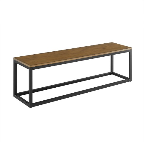 Barnaby Narrow Coffee Table Bench Brown Aiden Lane