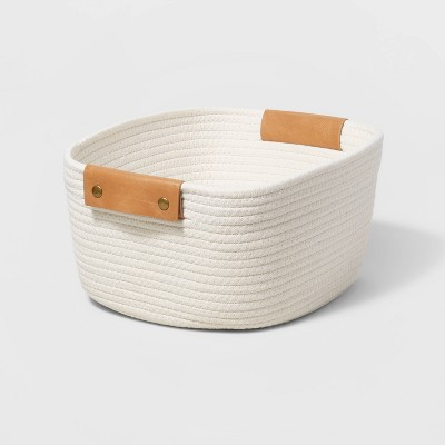 """13"""" Decorative Coiled Rope Square Base Tapered Basket Small White - Threshold™"""
