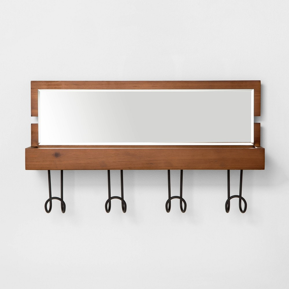 Entryway Wood Hook Rail With Shelf And Mirror Brown Threshold 8482