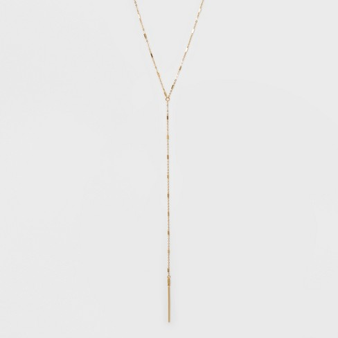 Baguette Stone and Bar Long Necklace - A New Day™ Gold - image 1 of 3