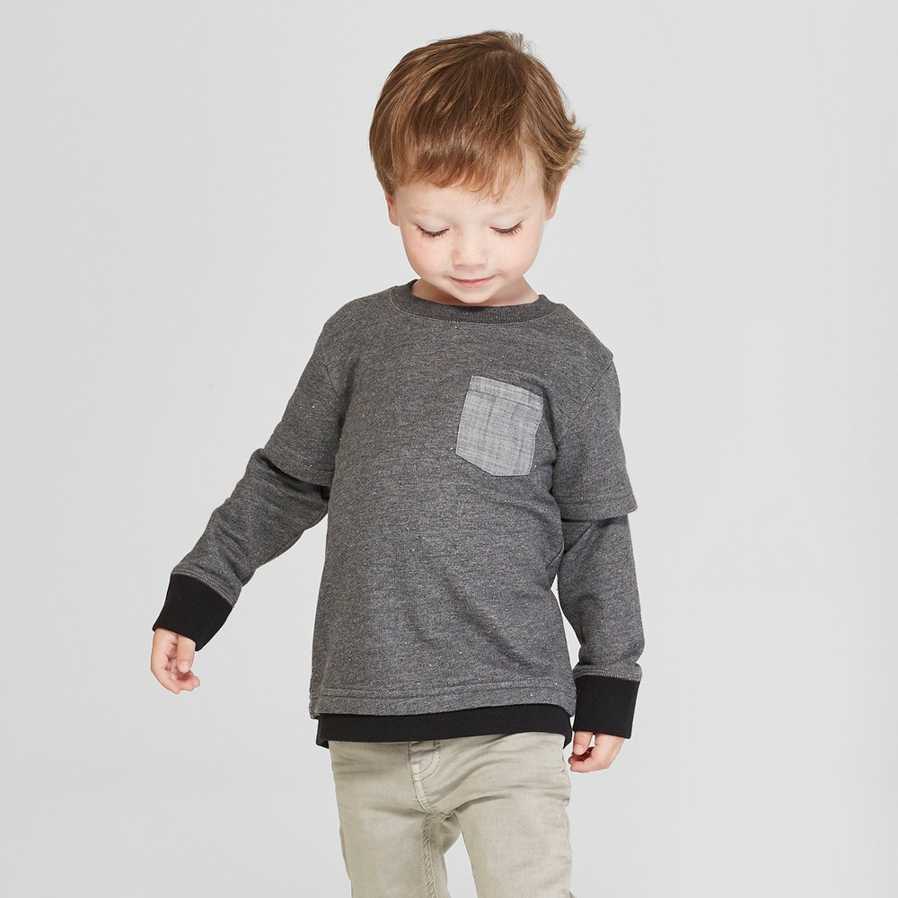 Toddler Boys' 2 Style Layer Sweatshirt with Pocket - Cat & Jack Dark Gray 5T, Black