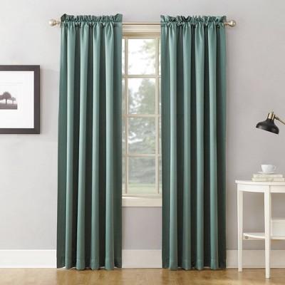 "Set of 2 84""x54"" Ren Room Darkening Rod Pocket Curtain Panel Green - Sun Zero"